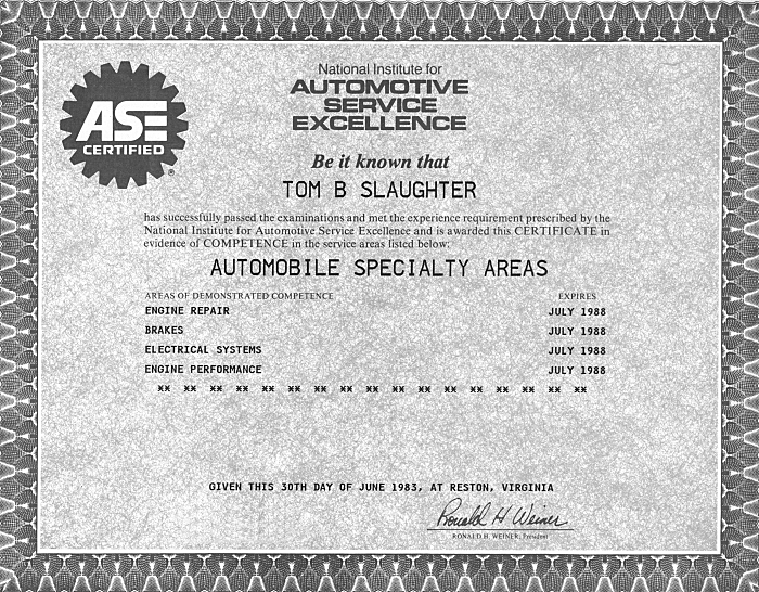 Tom Ase Certification Computer Repair Service Support Earth